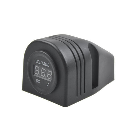 Motorcycle Modified Parts LED Digital Voltmeter Socket 6-33V - Black (FSLV)