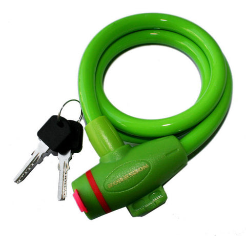 ROBESBON Anti-Theft Bicycle Wire Lock for Mountain Bike - Green (1m) (FSLV)