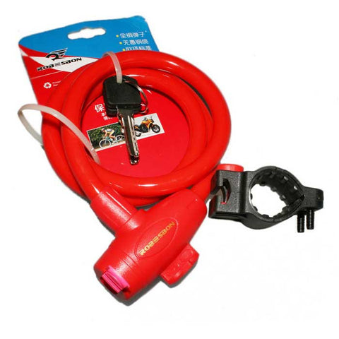 ROBESBON Anti-Theft Bicycle Wire Lock for Mountain Bike - Red (1m)  (FSLV)
