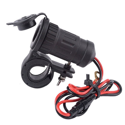 12/24V Water Resistant Motorcycle Cigarette Lighter Socket - Black (FSLV)
