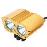UltraFire T6 2-LED 2000lm 4-Mode White Bicycle Light Headlamp - Golden (FSLV)