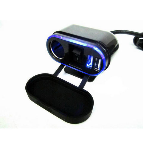 Jtron Motorcycle / Seat Belt Switch / Dual-USB - Black (FSLV)