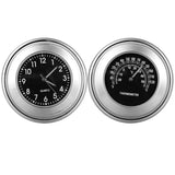 Motorcycle Handlebar Clock + Thermometer Set for Harley & More - Black (FSLV)