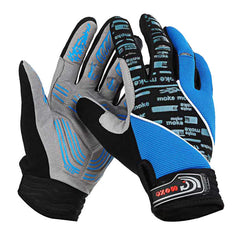 MOke Anti-Shock Touch-Screen Full-Finger Cycling Gloves - Blue - (FSLV)