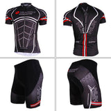Nuckily Breathable Polyester Short Cycling Jersey + Pants - Black (FSLV)