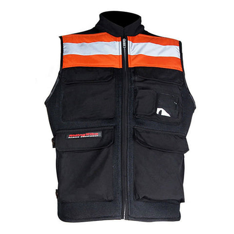 RidingTribe Reflective Riding Safety Vest - Black + Orange - (FSLV)