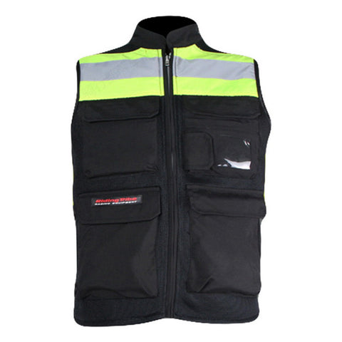 Riding Tribe Reflective Riding Safety Vest - Black + Yellow Green - (FSLV)