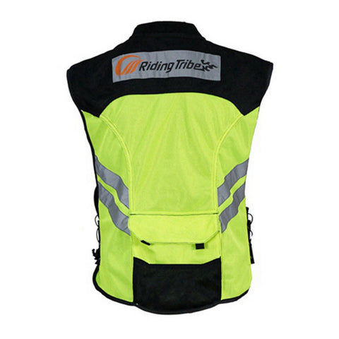 RIDING TRIBE JK-22 Motorcycle Safety Vest - Green + Black - (FSLV)