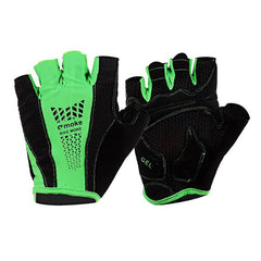 MOke Outdoor Cycling Sweat-Absorbing Polyester Half-Finger Gloves - Green + Black (FSLV)