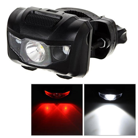 4-Mode 1-LED Neutral White + 2-LED Red Light Bike Headlamp - Black (FSLV)