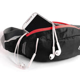 Wind Tour Sports Water Resistant Waist Bag w/ Adjustable Strip - Black (FSLV)