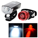 3-Mode 2-LED Bike White Light + Taillight Red Light - Black + Red (FSLV)
