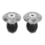 Aluminum Bike Handlebar End Plugs - Silver + Black (2PCS) (FSLV)