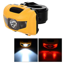 4-Mode 3-LED Cool White + Red Light Bike Headlamp / Taillight - Yellow (FSLV)