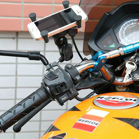 Iztoss MP1011-A 5V 2.1A Motorcycle USB Charger + X-Grip Phone Holder (FSLV)