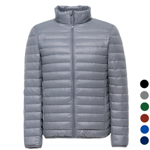 Men's Ultra Light Thin Down Jacket Coats - Grey (FSLV)