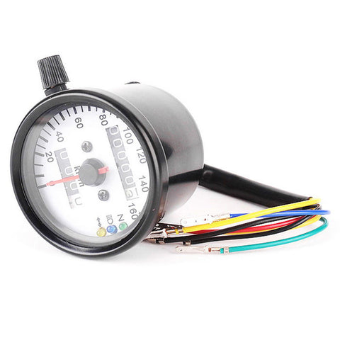 IZTOSS DIY Motorcycle Odometer / Speedometer w/ LED Indicator - Black (FSLV)