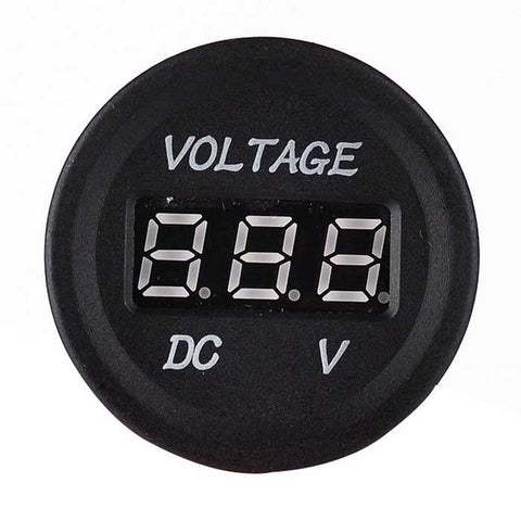 Iztoss Voltmeter Red LED Display for Motorcycle - Black (FSLV)