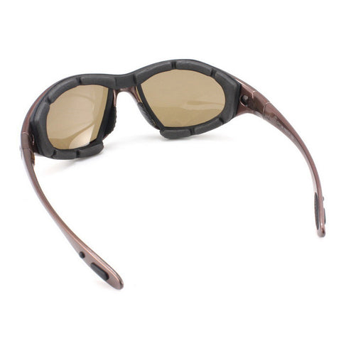 Panlees Cool Anti-Wind Polarized Motorcycle Sunglasses Goggles w/ Replaceable Temple - Tawny (FSLV)