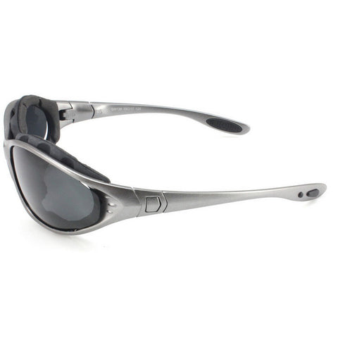 Panlees Anti-Wind Polarized Motorcycle Sunglasses Goggles w/ Replaceable Temple - Gun Grey (FSLV)