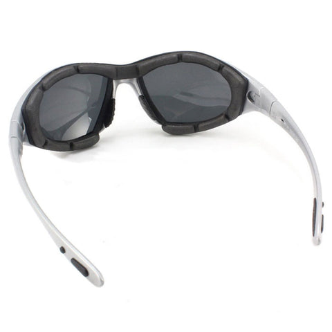 Panlees Anti-Wind Polarized Motorcycle Sunglasses Goggles w/ Replaceable Temple - Silver (FSLV)