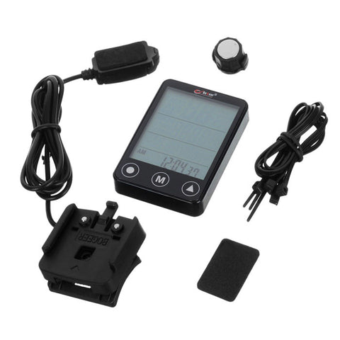 Touch Screen 24-Function Water-Resistant Wired Bike Computer - Black (FSLV)