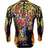 Paladinsport Men's Tiger Pattern Cycling Jersey - Black + Yellow