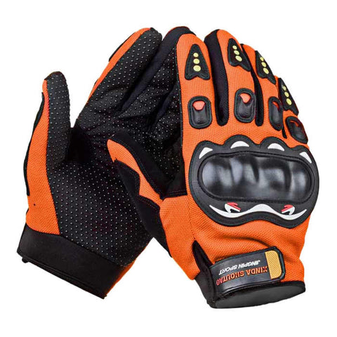 Outdoor Motorcycle Riding Cycling Protective Full-Finger Gloves - Orange + Black ( Pair ) - (FSLV)