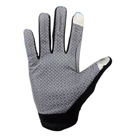 Outdoor Cycling Anti-Slip Full-Finger Touch Screen Gloves - Blue + Grey (FSLV)