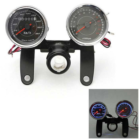 Iztoss Universal LED Motorcycle Tachometer Odometer Speedometer Gauge w/ Bracket, Backlight - Black (FSLV)