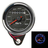 Iztoss Motorcycle Vintage Odometer Speedometer Gauge Meter w/ Dual Color LED Back Light - Black (FSLV)