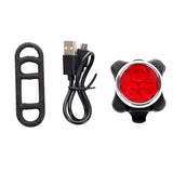 Mini Red Light 4-Mode Waterproof USB Rechargeable LED Bicycle Light Taillight - Black + Red    (FSLV)