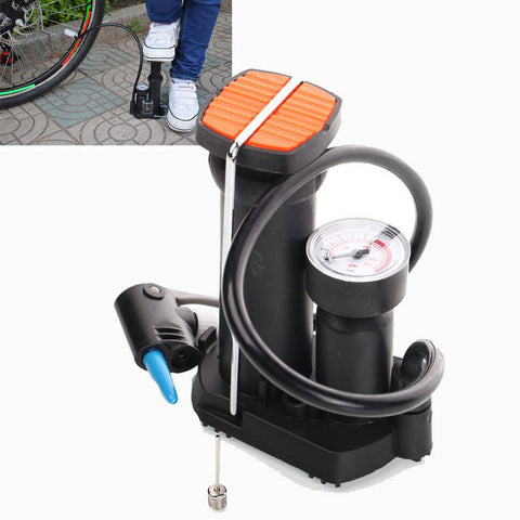 High-pressure Bicycle Pump Pedal Cycling Pump Straddling Inflator Pump - Black + White (FSLV)