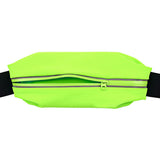 Elastic Waterproof Cycling / Running Waist Bag - Black + Light Green (FSLV)