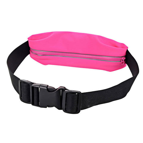 Elastic Waterproof Cycling / Running Waist Bag - Black + Rose Red  (FSLV)