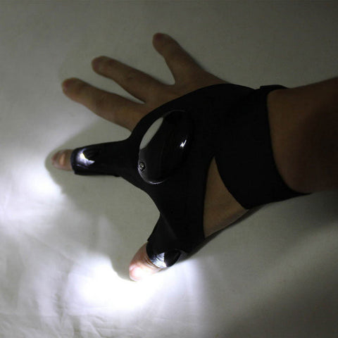 Outdoor Cycling LED Lighting 2-Finger Half Finger Glove - Black - (FSLV)