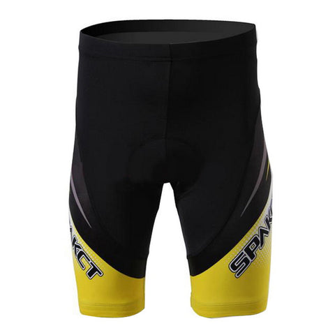 Spakct Quick-drying Padded Short Cycling Pants - Black + Yellow (FSLV)