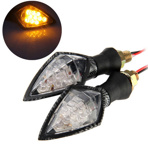 Qook 10-F5 Motorcycle LED Turn Signal Indicator Light (2PCS) - (FSLV)