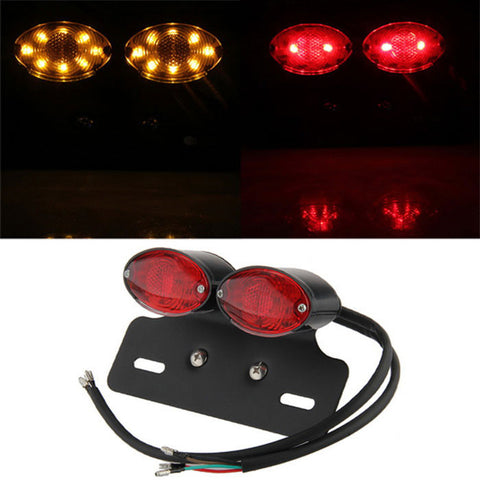 Qook 34-F5 Motorcycle LED Tail Light - Red + Black (DC 12V) - (FSLV)