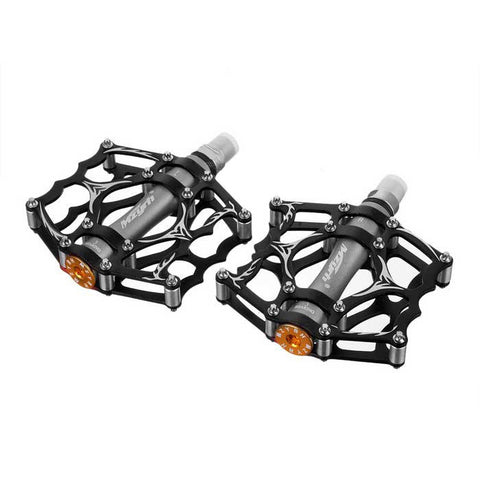 MZYRH Ultra Light Bike Pedals - Black + Silver Grey (Pair)  (FSLV)