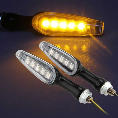 Qook 5-PIA Yellow Motorcycle LED Turn Signal Light (DC 12V / 2PCS) - (FSLV)