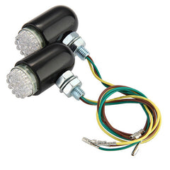 Qook 24-F5 Yellow Motorbike LED Turn Signal Indicator - Black (2PCS) - (FSLV)