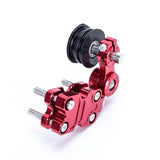 Motorcycle Chopper Aluminum Chain Adjuster Roller - Red (FSLV)