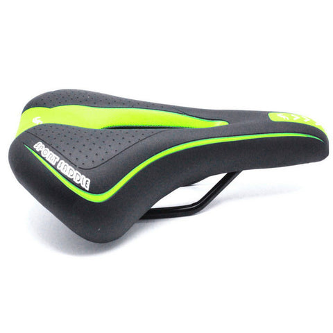 Hollow-out Bike Bicycle Seat Saddle Cushion - Black + Yellowish Green (FSLV)