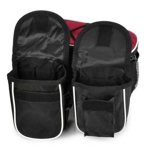Yanho 4-in-1 Multifunctional Bike Tube Saddle Bag - Black + Red (FSLV)