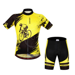 Wosawe Unisex Cycling Short Jersey + Pants - Yellow (M) - (FSLV)