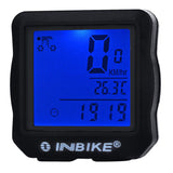 Inbike 14-Function Bike Odometer Speedmeter w/ Blue Backlit - Black (FSLV)