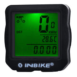 Inbike 14-Function Bike Odometer Speedmeter w/ Green Backlit - Black (FSLV)