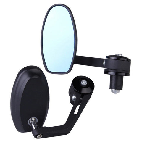 Aluminum Motorcycle Round Rear View Mirrors - Black (2 PCS)  (FSLV)