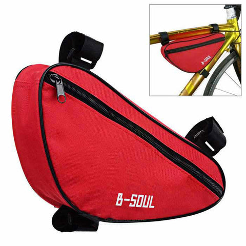 B-Soul Nylon Triangle Bike Top Tube Bag - Red + Black (FSLV